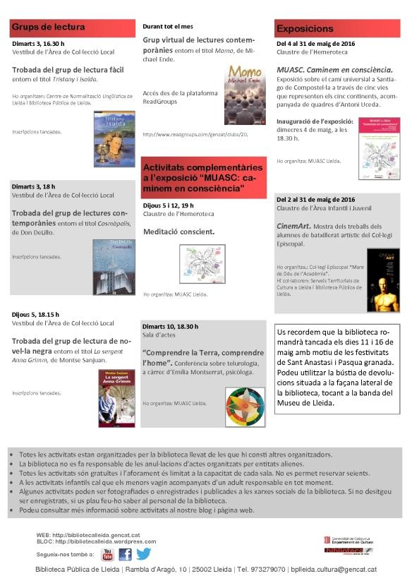 agenda 2 a 15 maig-2