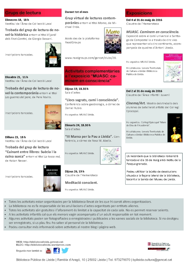 agenda 16 a 29 maig-2