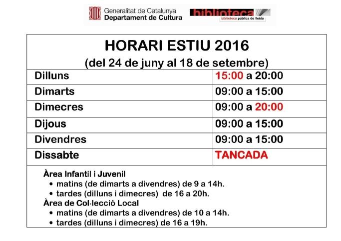 2016 HORARI ESTIU cartell